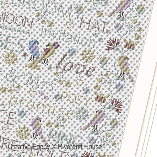 Birds and Words - Wedding / Anniversary Sampler cross stitch pattern by Riverdrift House, zoom 1