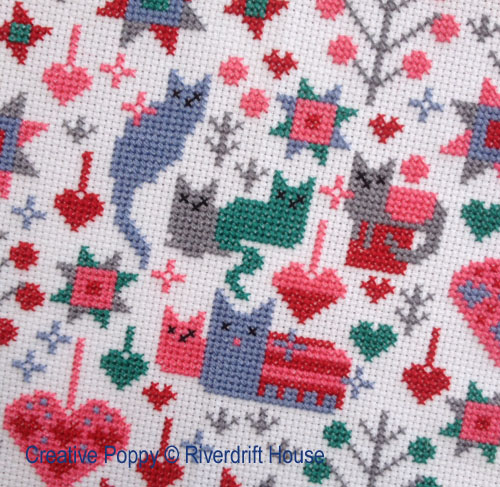 Cats & Kittens cross stitch pattern by Riverdrift House, zoom 1