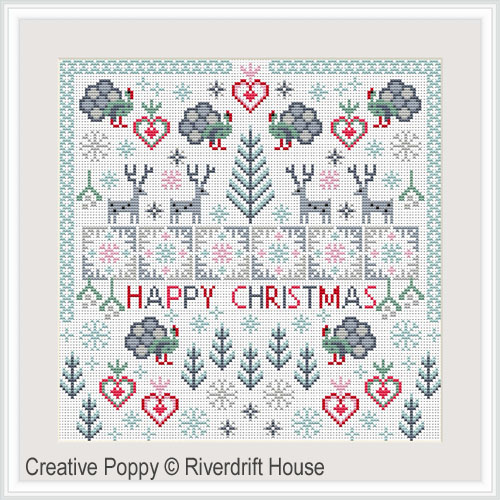 Christmas Turkeys cross stitch pattern by Riverdrift House