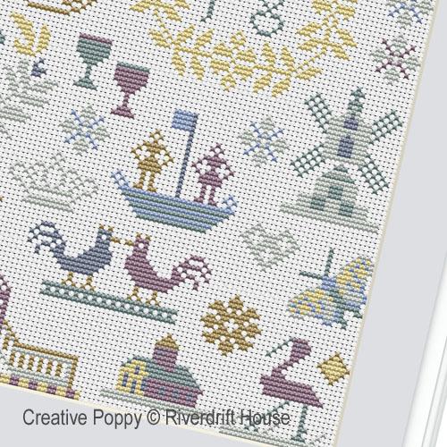 Riverdrift House - Little Dutch sampler zoom 1 (cross stitch chart)