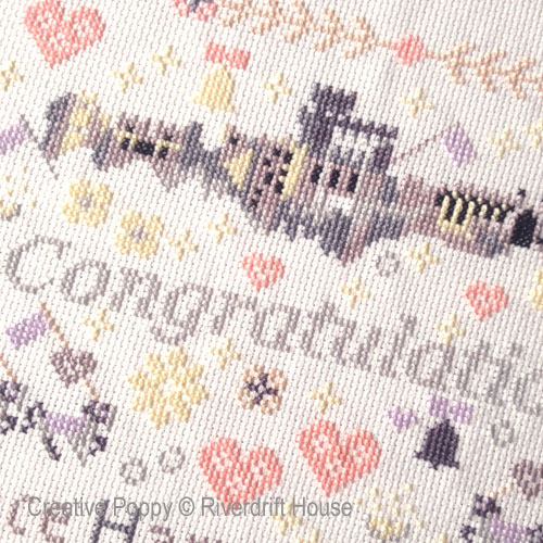 Prince Harry & Meghan Wedding cross stitch pattern by Riverdrift House, zoom 1