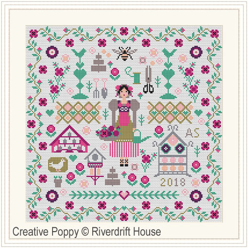 Summer Garden cross stitch pattern by Riverdrift House