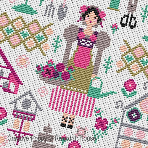 Summer Garden cross stitch pattern by Riverdrift House, zoom 1