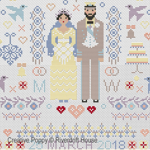 Wedding Folkies cross stitch pattern by Riverdrift House, zoom 1