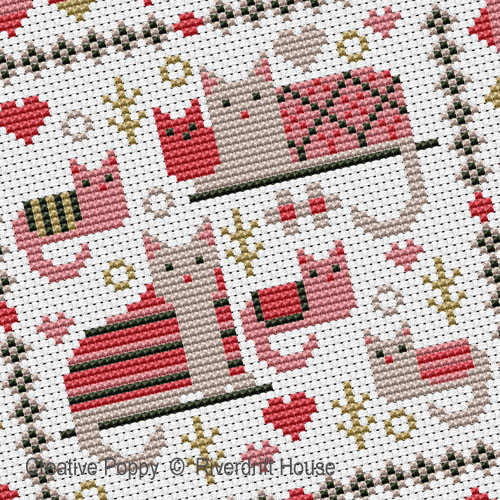 Mini Cosy Cats cross stitch pattern by Riverdrift House, zoom 1