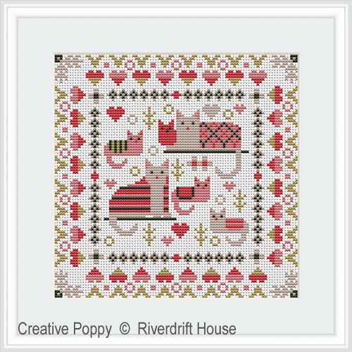 Mini Cosy Cats cross stitch pattern by Riverdrift House