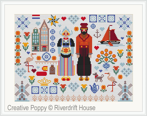 Dutch Folkies cross stitch pattern by Riverdrift House