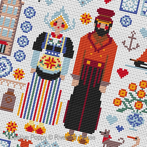 Dutch Folkies cross stitch pattern by Riverdrift House, zoom 1