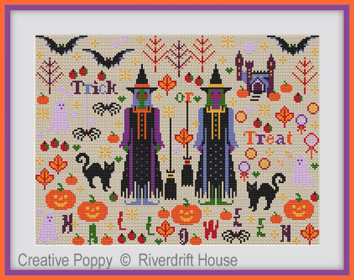 Halloween Spookies cross stitch pattern by Riverdrift House