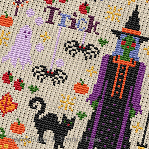 Halloween Spookies cross stitch pattern by Riverdrift House, zoom 1