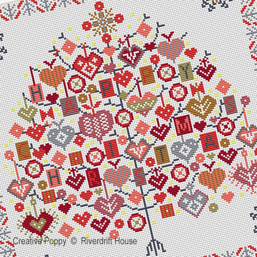 Happy Christmas Tree cross stitch pattern by Riverdrift House, zoom 1