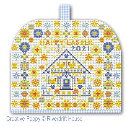 Happy Easter (Sampler or Tea cosy) cross stitch pattern by Riverdrift House, zoom 1