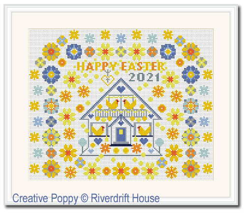 Happy Easter (Sampler or Tea cosy) cross stitch pattern by Riverdrift House