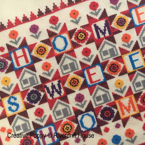 Home Sweet Home Patchwork Style Sampler cross stitch pattern by Riverdrift House, zoom 1