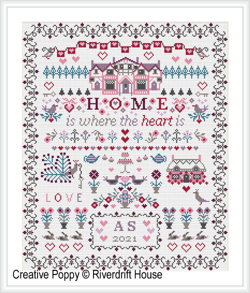 Home is where the Heart is cross stitch pattern by Riverdrift House