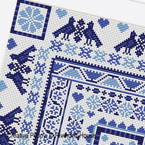Hungarian Square Blue cross stitch pattern by Riverdrift House, zoom 1