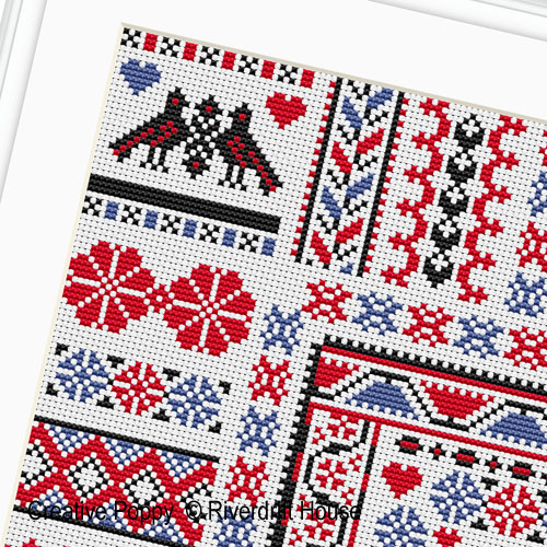 Hungarian Square Sampler cross stitch pattern by Riverdrift House, zoom 1