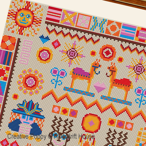 Inca sampler cross stitch pattern by Riverdrift House