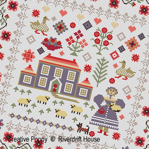 Lavender House Sampler cross stitch pattern by Riverdrift House