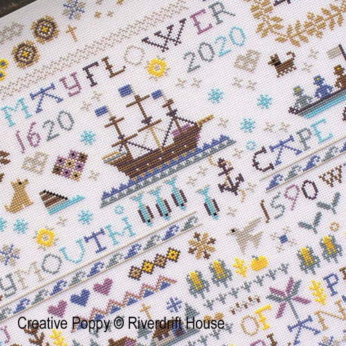 Mayflower 400 cross stitch pattern by Riverdrift House, zoom 1