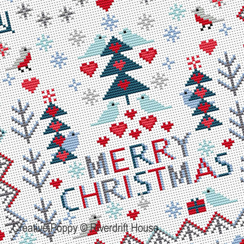 Merry Christmas Birds cross stitch pattern by Riverdrift House, zoom 1