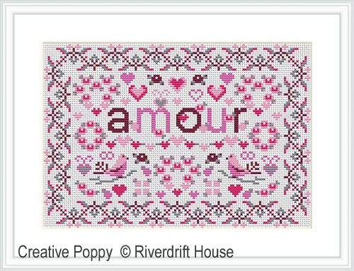 Mini Amour sampler cross stitch pattern by Riverdrift House