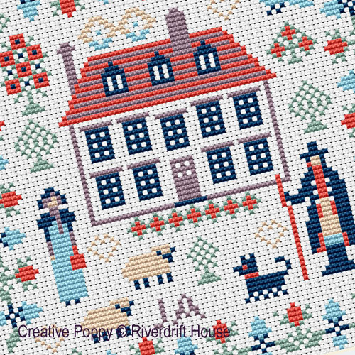 Mini Jane Austen Sampler cross stitch pattern by Riverdrift House, zoom 1