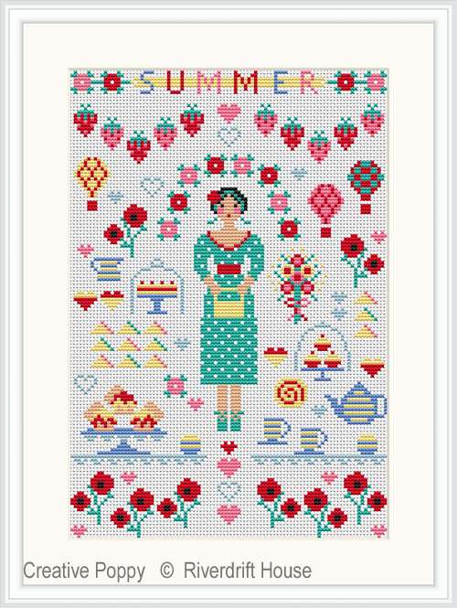 Summer Miniature cross stitch pattern by Riverdrift House