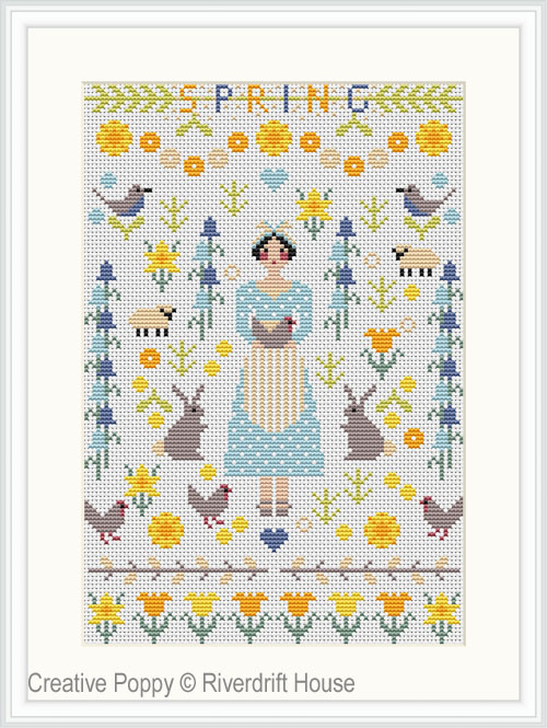 Spring Miniature sampler cross stitch pattern by Riverdrift House