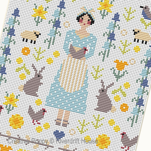 Spring Miniature sampler cross stitch pattern by Riverdrift House, zoom 1