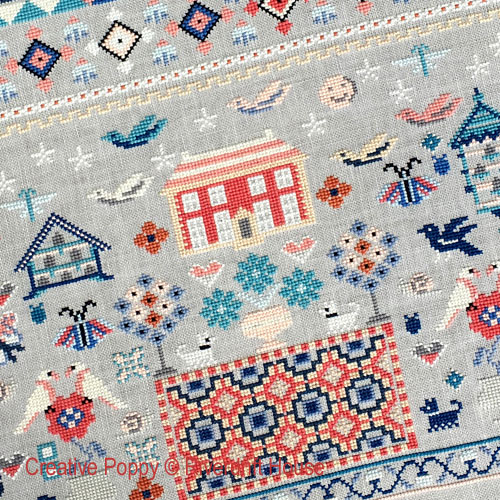 Must Fly Sampler cross stitch pattern by Riverdrift House, zoom 1