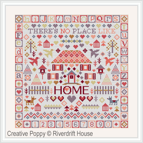 No place like Home cross stitch pattern by Riverdrift House