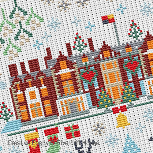 Sandringham Christmas cross stitch pattern by Riverdrift House, zoom 1