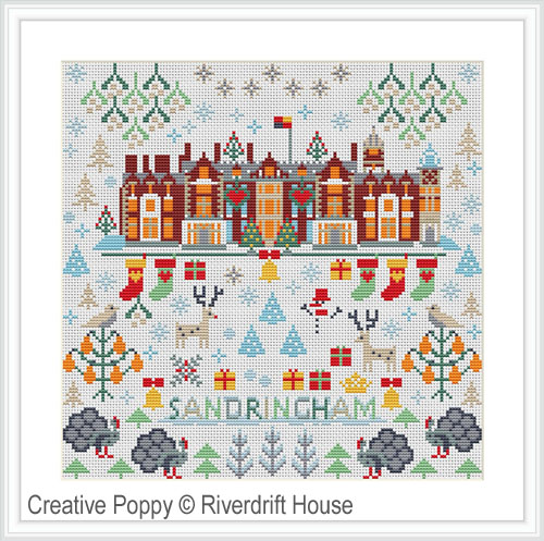 Sandringham Christmas cross stitch pattern by Riverdrift House