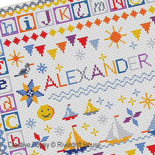 Seaside Baby Sampler cross stitch pattern by Riverdrift House, zoom 1