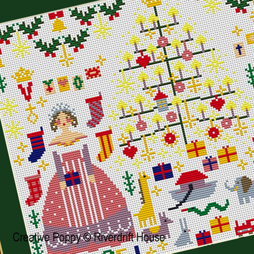 Victoria and Albert Christmas cross stitch pattern by Riverdrift House, zoom 1