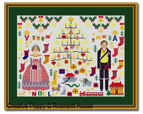 Victoria and Albert Christmas cross stitch pattern by Riverdrift House
