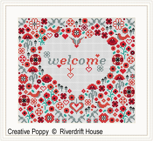 Welcome Poppy Heart cross stitch pattern by Riverdrift House