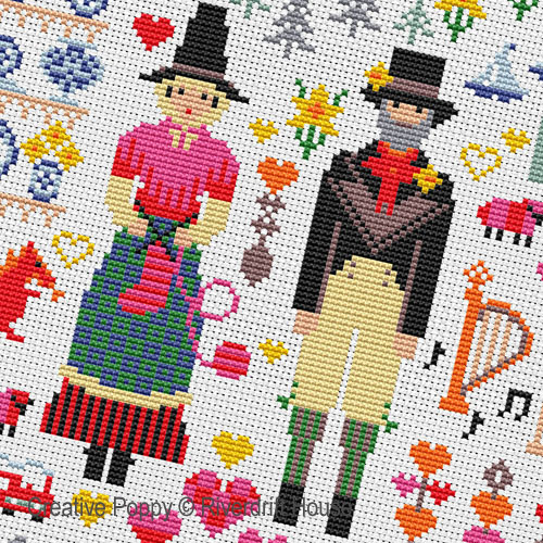 Welsh Folkies cross stitch pattern by Riverdrift House, zoom 1