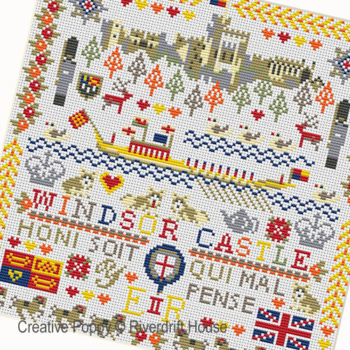 Windsor Castle cross stitch pattern by Riverdrift House, zoom 1