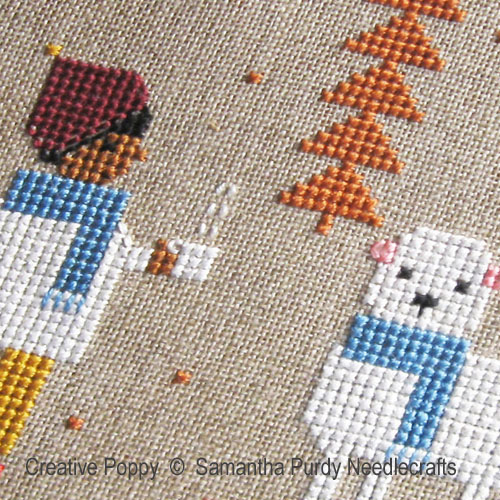 Blue Scarves cross stitch pattern by Samantha Purdy Needlecrafts