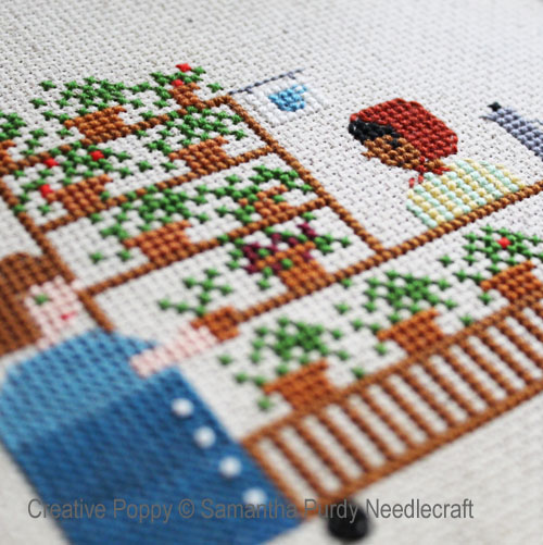 Coffee and Plant cart cross stitch pattern by Samantha Purdy Needlecraft, zoom 1