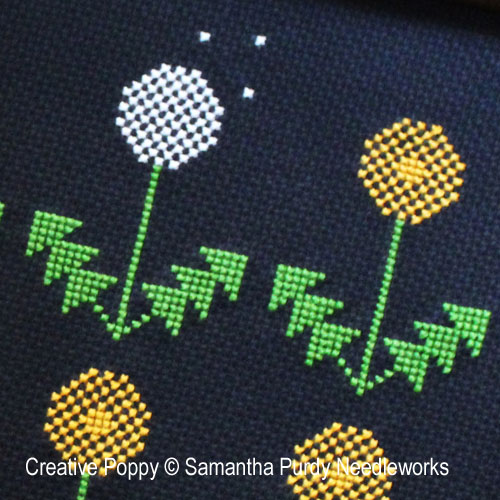 Dandelion cross stitch pattern by Samantha Purdy Needlecraft, zoom 1