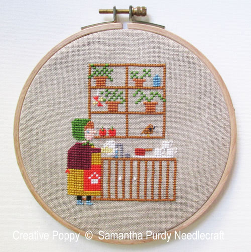 Dishwashing cross stitch pattern by Samantha Purdy Needlecrafts
