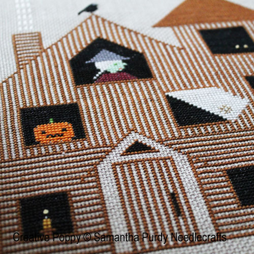 Halloween House cross stitch pattern by Samantha Purdy Needlecraft