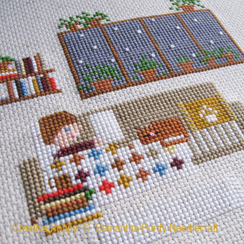 Indoor day cross stitch pattern by Samantha Purdy Needlecrafts, zoom 1