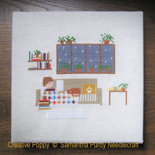 Indoor day cross stitch pattern by Samantha Purdy Needlecrafts