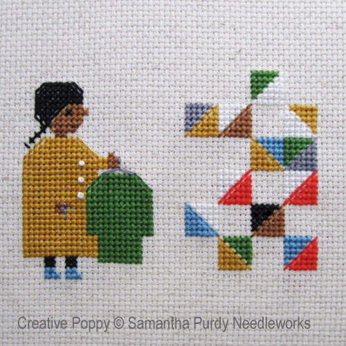 Making a Quilt from Old Clothes cross stitch pattern by Samantha Purdy Needlecrafts