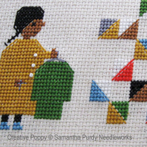Making a Quilt from Old Clothes cross stitch pattern by Samantha Purdy Needlecrafts, zoom 1