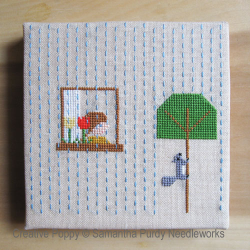 Spring Rain cross stitch pattern by Samantha Purdy